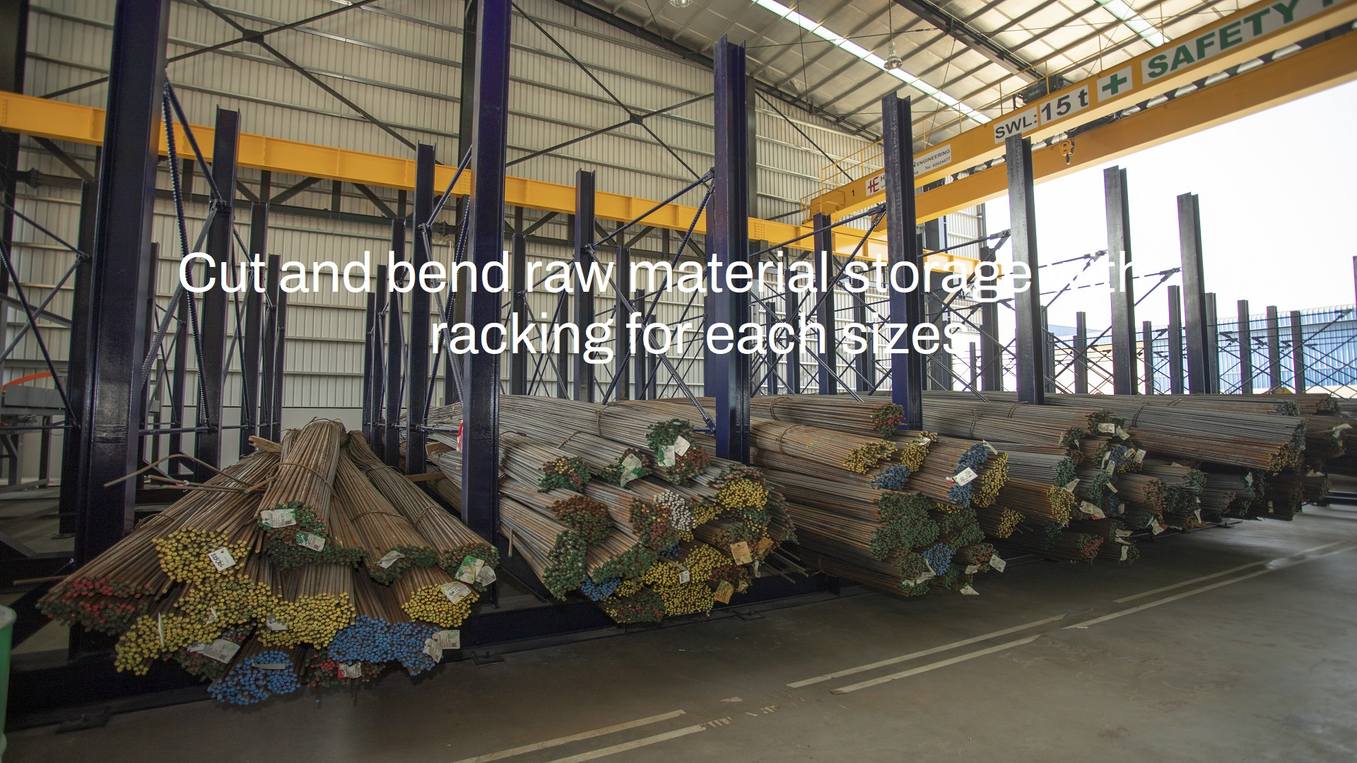 Cut and bend raw material storage with racking for each sizes