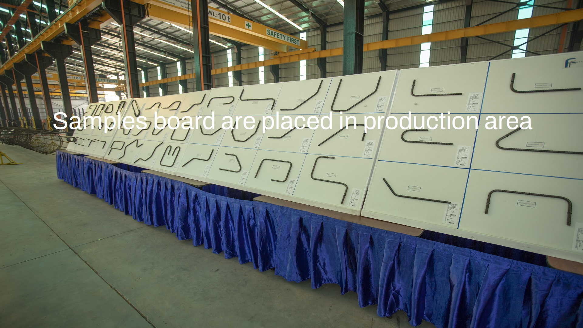 Samples board are placed in production area
